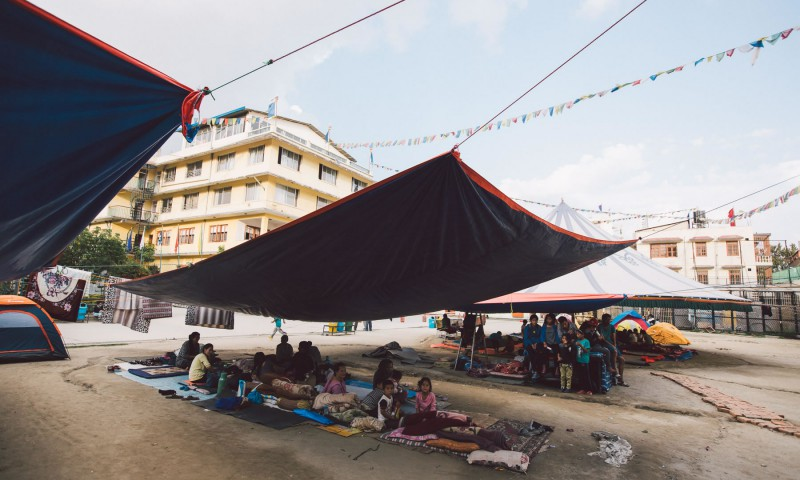 In the wake of the earthquake, students at SMD school are temporarily living under tarps and in tents